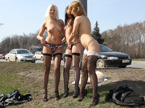 Three sexy girls flash in public
